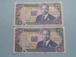 2 X 20 Twenty SHILLINGS ( Shilingi Ishirini ) Central Bank Of KENYA ( For Grade, Please See Photo ) ! - Kenya