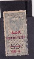 Timbre Fiscal A.O.F Médaillon De Tasset Grand Format Toutes Taxes Sur Taxe Fixe 20 C Sur  50 C Surcharge  Rouge - A.O.F. (1934-1959)
