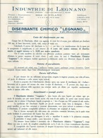 """5113 """"INDUSTRIE DI LEGNANO-SEDE DI MILANO-DISERBANTE CHIMICO LEGNANO """"- OPUSCOLO ORIG. - Italy"""