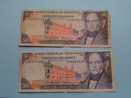 2 X 50 Cincuenta BOLIVARES ( 1995 ) Banco Central De Venezuela ( For Grade, Please See Photo ) ! - Venezuela