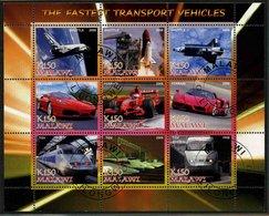 TRANSPORTS - BLOC FEUILLET DE 9 VIGNETTES OBLITEREES - Transportation