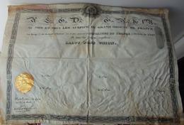 BREVET MAÇONNIQUE - La Resp. De St Jean D'Ecosse Des CHEVALIERS DU TEMPLE à L'Orient De LYON - Documents Historiques