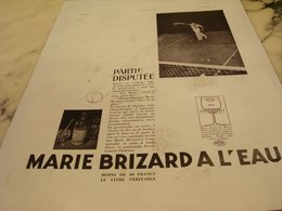 ANCIENNE PUBLICITE TENNIS ET  MARIE BRIZARD A L EAU 1935 - Alcools