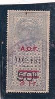Timbre Fiscal A.O.F Médaillon De Tasset Grand Format  Taxe Fixe3 Fr Sur  50 C Surcharge  Rouge - A.O.F. (1934-1959)