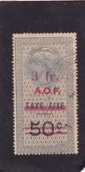 Timbre Fiscal A.O.F Médaillon De Tasset Grand Format  3 Fr Sur  50 C Surcharge  Rouge - A.O.F. (1934-1959)