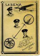 CP Sabena Souvenir Du Premier Départ De La Liaison Belgique Congo 1935 Aviation Pilote - Belgique