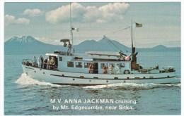 Mt. Edgecumbe Alaska Near Sitka, M.V. Anna Jackman Cruise Boat C1960s Postcard - Sitka
