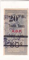Timbre Fiscal A.O.F Médaillon De Tasset Grand Format Toutes Taxes Sur   Taxe Fixe 20 Fr Sur 50 C Surcharge Noire - A.O.F. (1934-1959)