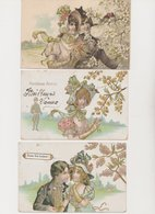 Lot De 5 Cartes Fantaisie Dessinées / Couples Sous Arbres En Fleurs - Paare
