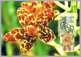 ORQUIDEA Grammatophyllum Speciosum. Tarjeta Maxima-maximun Card. Australia 1998 - Orquideas