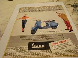 ANCIENNE  PUBLICITE ROULEZ  VESPA 1959 - Motos
