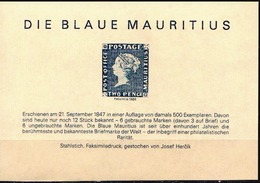 The Blue Mauritius Commemorative MNH SS With Facsimile Stamp - Stamps On Stamps
