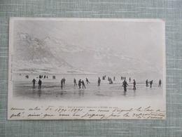 CPA 74 LAC D'ANNECY PENDANT L'HIVER DE 1890 GELE ANIMEE - France