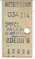 Ancien Ticket De Métro 2ème Classe Valable Ce Jour Seulement ODEON - Europe