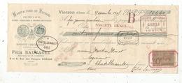 Mandat, MANUFACTURE DE POTERIES, Félix Sauvaget,Vierzon , 2 Scans ,frais Fr :1.65 E - Bills Of Exchange