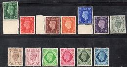 CI1109 - GRAN BRETAGNA 1937 , GVI  13 Valori Con Gomma Integra  ***  MNH  (2380A). - 1902-1951 (Re)