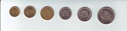 6 Coins Monedas Pièces Monnaie MARRUECOS MOROCCO MAROC 5 10 20 50 1 5 (usadas - Used) 1974 1980 - Marruecos