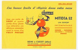 Buvard 20.9 X 13.4 MITIDJA 52 Sirop De Fruits Pressés D'Algérie  Usine à Cusset Allier Bleu - Softdrinks