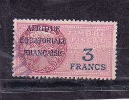 Timbre Fiscal A.E.F Médaillon De Daussy 3 Fr - A.E.F. (1936-1958)