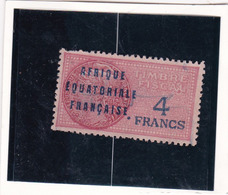 Timbre Fiscal A.E.F Médaillon De Daussy 4 Fr - A.E.F. (1936-1958)