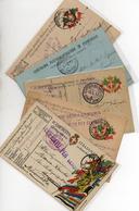 5 CARTOLINE IN FRANCHIGIA - DIFFERENTI - VIAGGIATE CON TIMBRO MILITARE TUTTI LEGGIBILI - 5 - War 1914-18