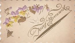Glückwunschkärtchen Gold Prägedruck Um 1900, 11,2 X 7,5 Cm - Mitteilung