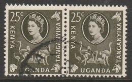 Kenya  1960 Flowers, Animals And Local Motives 25 C Purple Rose SW 82 O Used Pair - Kenya, Uganda & Tanganyika