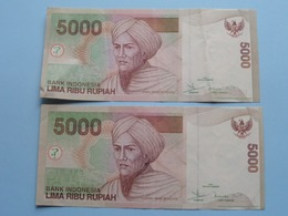 2 X 5000 LIMA RIBU Rupiah > Bank Indonesia ( For Grade, Please See Photo ) ! - Indonesien