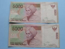2 X 5000 LIMA RIBU Rupiah > Bank Indonesia ( For Grade, Please See Photo ) ! - Indonesia