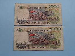 2 X 5000 LIMA RIBU Rupiah > Bank Indonesia ( For Grade, Please See Photo ) ! - Indonésie