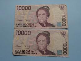 2 X 10000 SEPULUH RIBU Rupiah > Bank Indonesia ( For Grade, Please See Photo ) ! - Indonésie