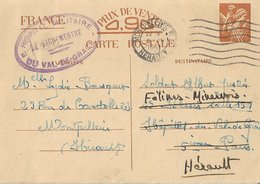 Entier Postal 90c Iris Hôpital Militaire Val De Grâce - Marcophilie (Lettres)