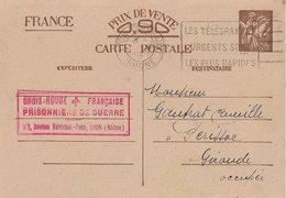 Entier Postal 90c Iris Croix Rouge Française , Prisonniers De Guerre Lyon - Marcophilie (Lettres)