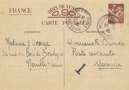 Entier Postal 90c Iris Poste Restante Avec T - Guerre De 1939-45