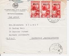 Trieste A, Busta Per USA Affrancata Con Sassone 104 (x3) (05314) - 7. Trieste