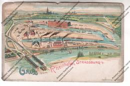 TRES RARE CPA Colorisée Strasbourg 67 : Gruss Vom Rheinhafen Strassburg - Strasbourg