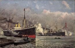 Artiste Cp Hamburg, Partie Im Hafen, Überseedampfer Beim Laden - Schiffe