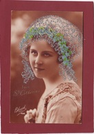 VIVE LA SAINTE CATHERINE CARTE BRODÉE FEMME AVEC  BONNET BRODÉ - Embroidered