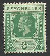 Seychelles, 3 C, 1917, Scott # 75, MH. - Seychelles (...-1976)