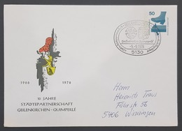1976 Cover, 10 Jahre Städtpartnerschaft Geilenkirchen-Quimperlé, Winningen, Germany - Briefe U. Dokumente