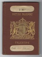 JUDAICA BRITISH PALESTINE PASSPORT FOR RABBI  EGYPT VISA & CONSULAR STAMP 1930s - Historical Documents