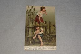 Publicité Biscuiterie Victoria Jeune Enfants Fille Garçon + Timbre 1912 - Advertising