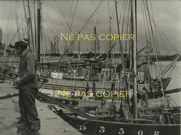 DOUARNENEZ Le Port Vers 1950 Grande Photo 22,7 X 28,8 Cm Finistère 29 Bretagne - Luoghi