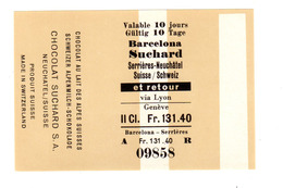 Enveloppe Pour Chocolat Suchard, Ticket De Train, Sérrieres - Barcelone, Espagne, Jamais Vu (!) - Titres De Transport