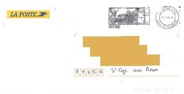 Flamme Et Cachet Vitré Ille Et Vilaine Sur Enveloppe Service La Poste Tour 2006 Architecture Médiévale - Marcofilie (Brieven)