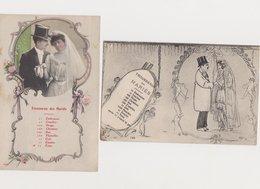 2 Cartes Fantaisie  /  Trousseau Des Mariés - Paare