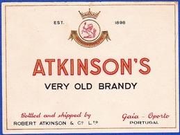 Brandy Label, Portugal - ATKINSON'S Very Old Brandy / Robert Atkinson - Gaia, Oporto - Labels