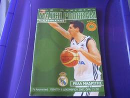 Panathinaikos-Real Madrid Euroleague Basketball Official Match Program Programme 06/12/2007 Diamantidis - Habillement, Souvenirs & Autres