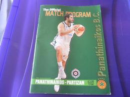 Panathinaikos-Partizan Euroleague Basketball Official Match Program Programme 02/01/2008 Spanoulis - Habillement, Souvenirs & Autres