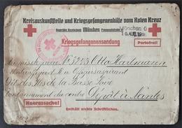 Etiquette D'envoi De COLIS CROIX-ROUGE MÜNCHEN Prisonnier De Guerre Allemand Dépôt Des ISLES DE LA BASSE-LOIRE NANTES - Guerre De 1914-18